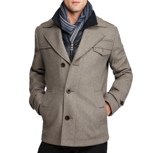 Hugo Boss Boss Orange by Men's Ofanta Wool Jacket Pea Coat-Grey-44