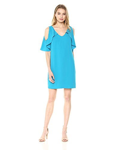 Trina Trina Turk Women's Kaidence Cold Shoulder Dress, Teal, Medium