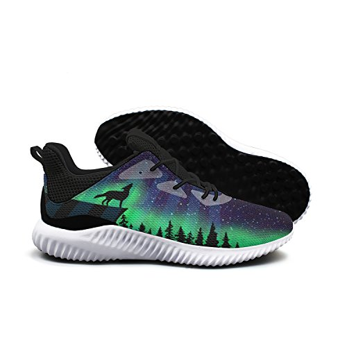 Designsonic Basketball Team Galaxy Wolf Wolves Man Running Sneakers Shoes Low Top