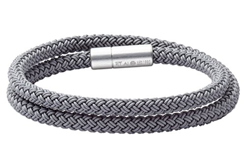 Tateossian RT Rubber, Double Wrap Braided Cable Bracelet with Anodised Aluminum Clasp - Silver, Medium 39cm