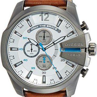 Diesel Men's Mega Chief Gunmetal Brown Leather Watch