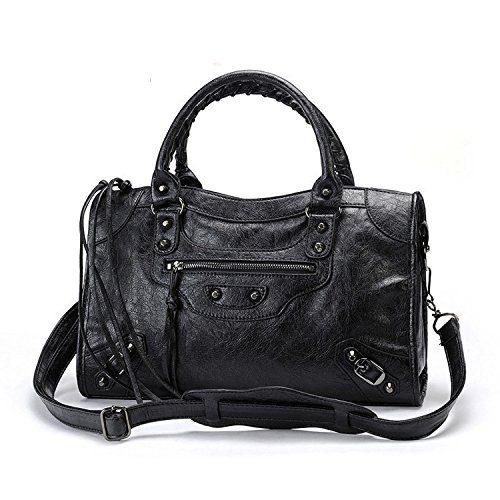 Gold-Tech New Women Leather Black Studed Motorcycle Bags 38cm Medium Size Shoulder Bag 9 Colors (Black)