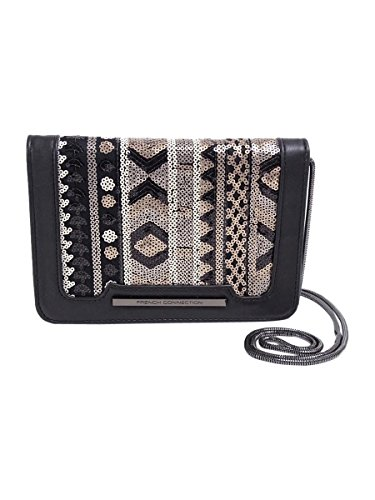 French Connection Women's Vanessa Clutch Black/Deco Lamb PU/Sequins Cross Body