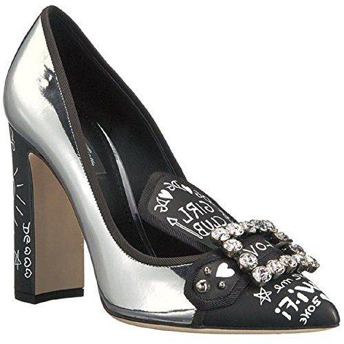 Dolce & Gabbana Women's Silver Calf Leather Pumps - Heels Shoes - Size: 36.5 EU