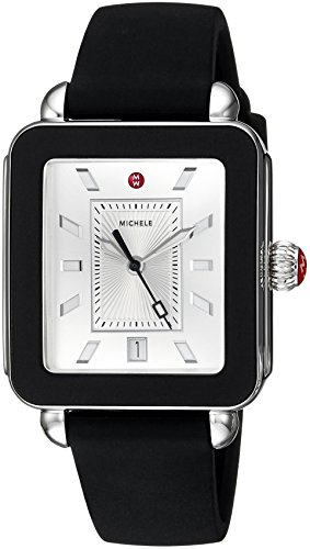 MICHELE Women's Swiss Quartz Stainless Steel and Rubber Casual Watch, Color Black