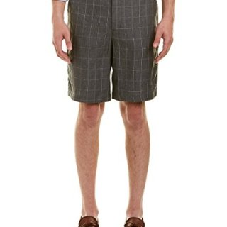 Robert Graham Men's Storm Linen Classic Fit Woven Shorts, Grey, 36
