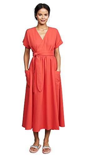 Mara Hoffman Women's Ingrid Short Sleeve Wrap Midi Dress, Red, X-Small