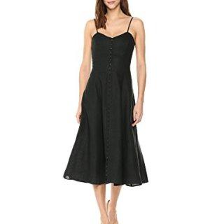 Mara Hoffman Women's Robyn Spaghetti Strap Hook and Eye Ankle Dress, Black, 0