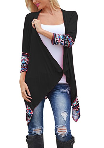 Relipop Women Winter Long Sleeve Irregular Printing Stitching Cardigan Jacket (X-Large, Black)