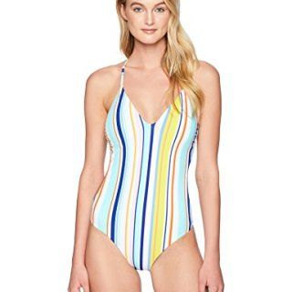Nanette Lepore Women's V-Neck Strappy Back One Piece Swimsuit, Multi, Large