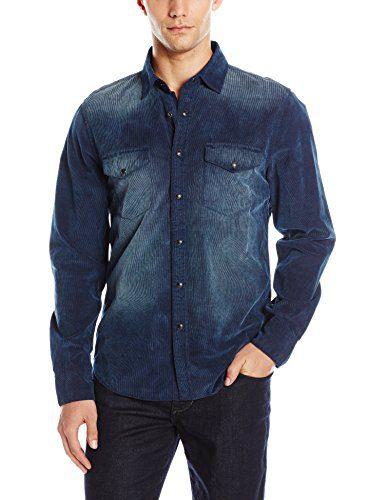 Joe's Jeans Men's Ralston Corduroy Button Down Shirt, Indigo, XL