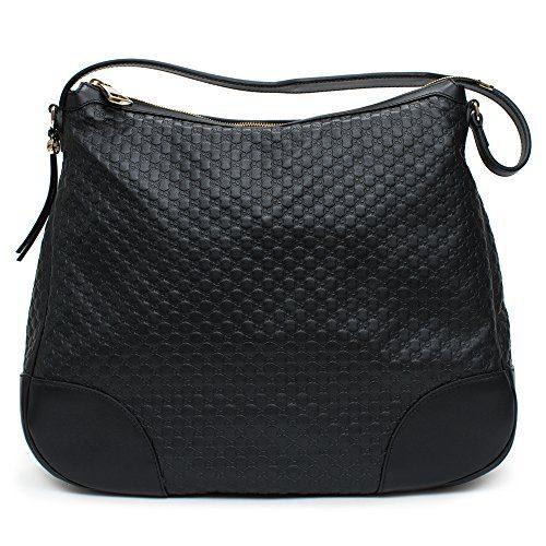 Gucci Bree Guccissima Leather Hobo Bag Black New