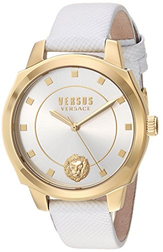 Versus by Versace Women's 'New Chelsea' Quartz Gold-Tone and Leather Watch, Color:White