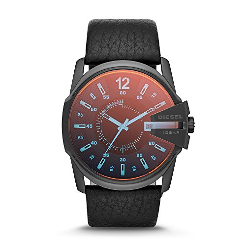 Diesel Men's Master Chief Quartz Stainless Steel and Leather Casual Watch, Color Black (Model: DZ1657)