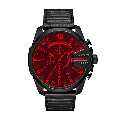 Diesel Men's 'Mega Chief' Quartz Stainless Steel and Leather Casual Watch, Color Black (Model: DZ4460)