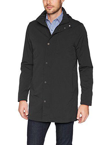 J.Lindeberg Men's Tech Nylon Coat, Black, Large