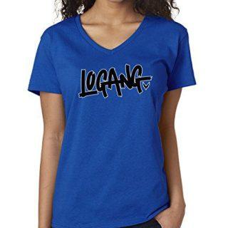 New Way 826 - Women's V-Neck T-Shirt Logang Logan Paul Maverick Savage Medium Royal Blue