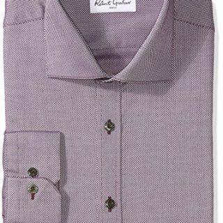 """Robert Graham Men's Felix Regular Fit Textured Dress Shirt, Wine, 17"""" Neck 36"""" Sleeve"""