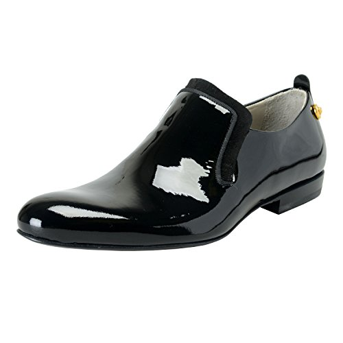 Versace Men's Black Patent Leather Slip On Loafers Shoes US 9 IT 42