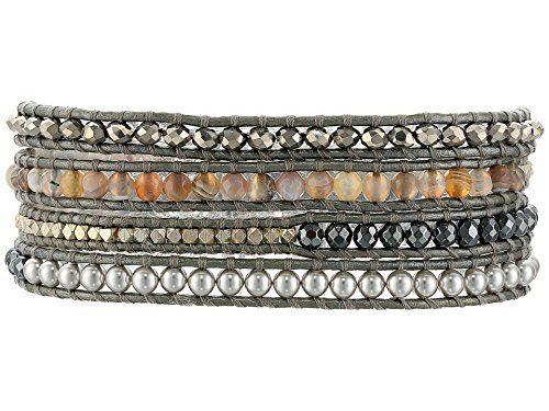 Chan Luu Grey Mix Sectioned Wrap Bracelet on Grey Leather