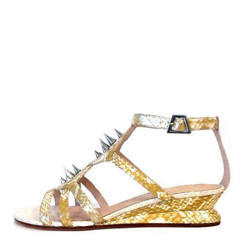 House of Harlow Women's Celine Slingback Sandal,Yellow Silver/White Snake,9 M US