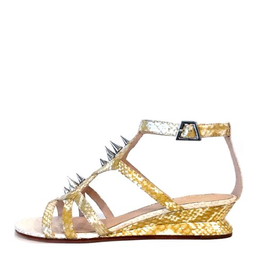 House of Harlow Women's Celine Slingback Sandal,Yellow Silver/White Snake,9 M US