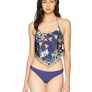 Trina Turk Women's Halter Handkerchief Tankini Swimsuit Top, Navy/Midnight/Fiji Floral Print, 14