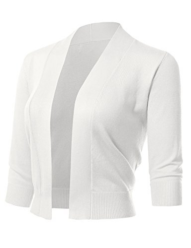 ARC Studio Women's Classic 3/4 Sleeve Open Front Cropped Cardigans (S-XL) M White