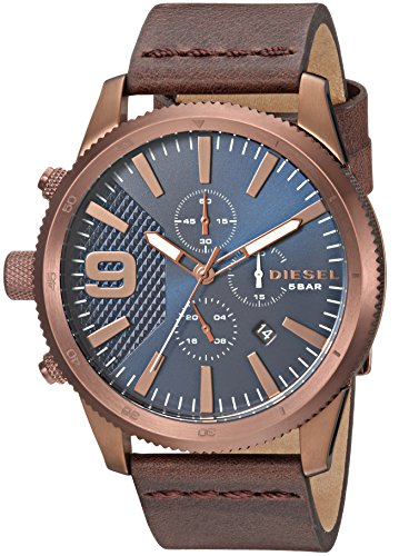 Diesel Men's 'RASP Chrono 46' Quartz Stainless Steel and Leather Casual Watch, Color Brown (Model: DZ4455)