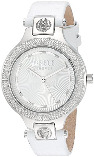 Versus by Versace Women's 'Claremont' Quartz Stainless Steel and Leather Watch, Color:White