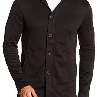John Varvatos Star USA Luxe Men's Button Zip Front Long Hoodie Jacket X-Large Black