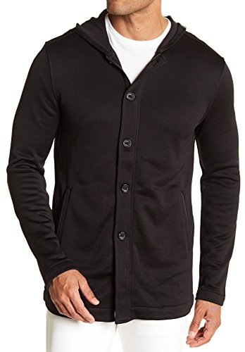 John Varvatos Star USA Luxe Men's Button Zip Front Long Hoodie Jacket X-Large Black