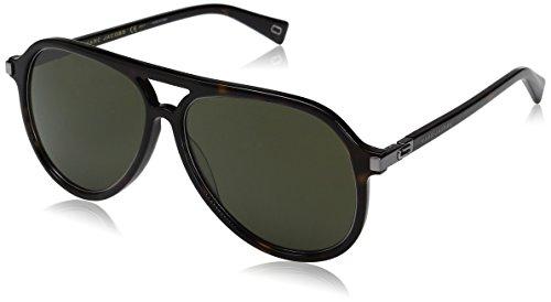 Marc Jacobs Men's Aviator Sunglasses, Dark Havana/Green, 58 mm