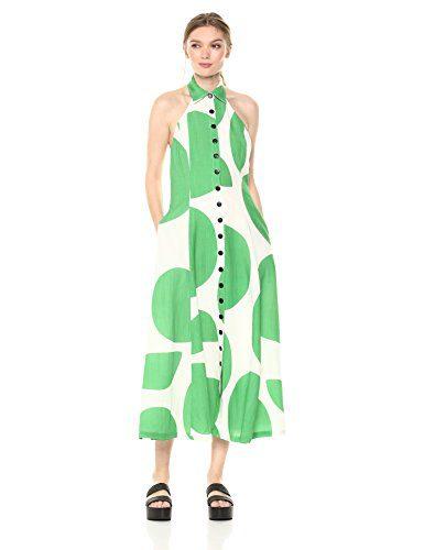Mara Hoffman Women's Rosemary Button up Halterneck Scoop Back Midi Dress, Tondo White/Green, 2