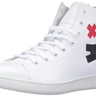 Marc Jacobs Men's Canvas Zip Face Fashion Sneaker, White, 41 EU/7 M US