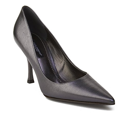 Dolce & Gabbana Women's Pointed Toe Leather Pump Silver