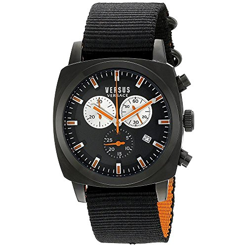Versus by Versace Men's RIVERDALE Black Stainless Steel Watch with Canvas Strap