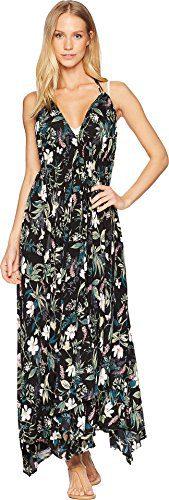 Kate Spade New York Women's Playa Carmen Halter Maxi Dress Cover-Up Black Medium