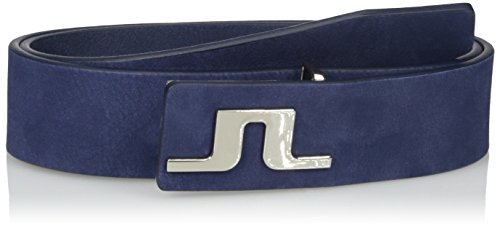 J.lindeberg Men's Men's Carter Brushed Leather Belt, Navy/purple, 100