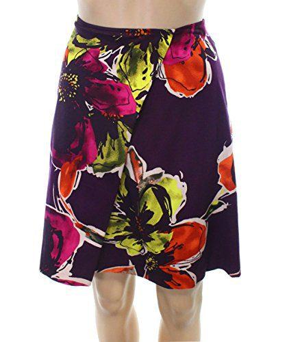 Trina Turk Women's Straight Pencil Floral Skirt Purple 6