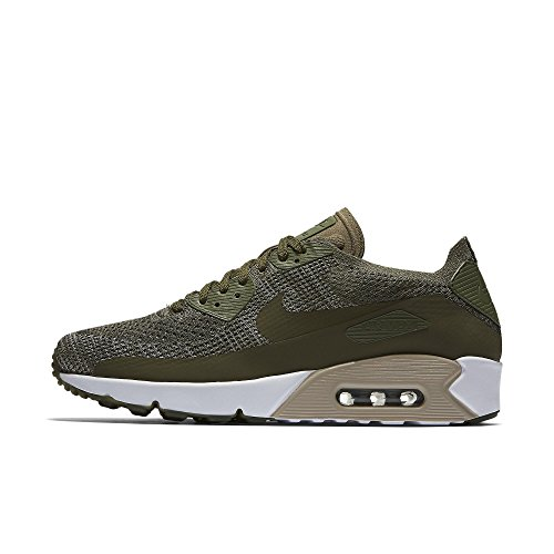 NIKE Mens Air Max 90 Ultra 2.0 Flyknit Shoe, Medium Olive/Medium Olive, 11.5