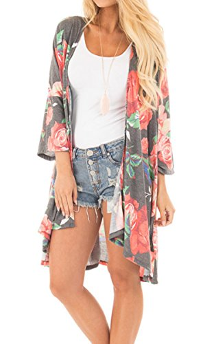 Hibluco Women's Casual 3/4 Sleeve Boho Floral Printed Open Front Cardigan (Grey, X-Large)