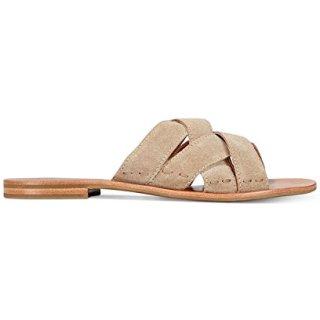 FRYE Womens Carla Criss Cross Open Toe Casual Slide Sandals, Ash, Size 10.0