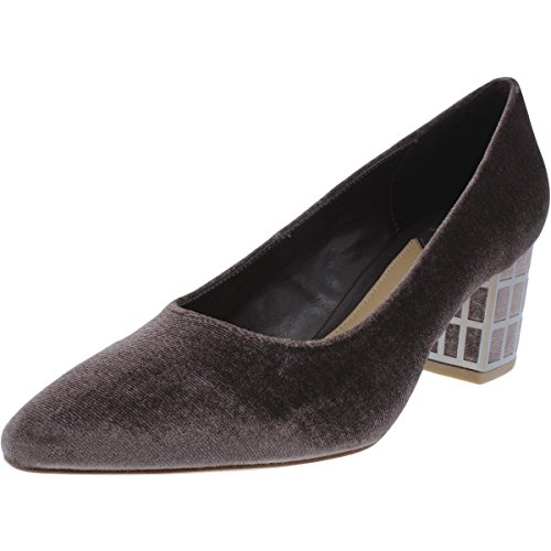 B Brian Atwood Womens Karina Velvet Block Heels Brown 6.5 Medium (B,M)