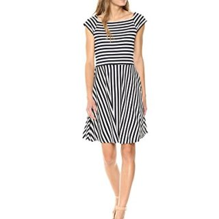 A|X Armani Exchange Women's Stripe Fit and Flare Dress, Stripes Navy/White, S
