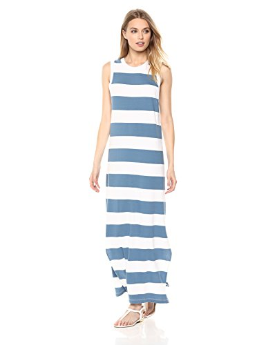 Stateside Women's Stripe Maxi Tank Dress, Blue, Medium