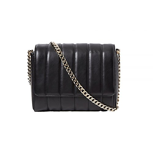 French Connection Rudy Quilted Crossbody Black Shiney Gold One Size
