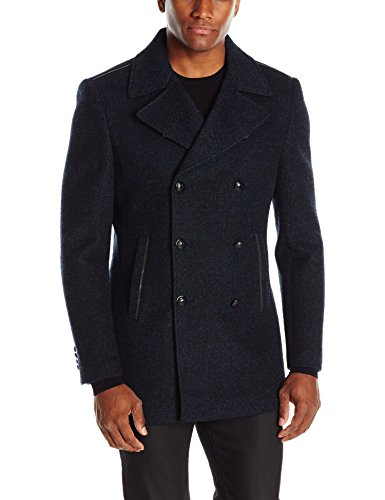 John Varvatos Men's Double Breasted Peacoat, Eclipse Blue, X-Large