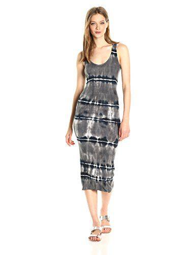 Enza Costa Women's Stretch Silk Rib Tank Midi Dress Stripe, Black Ikat Stripe, M