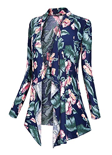 Urban CoCo Women's Drape Front Open Cardigan Long Sleeve Irregular Hem (# 2-1, L)